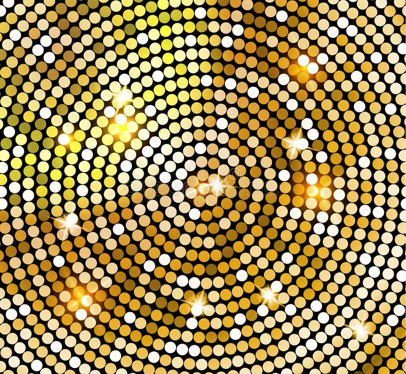 Golden shiny mosaic in disco ball style. Vector gold disco lights background. Abstract background royalty free illustration