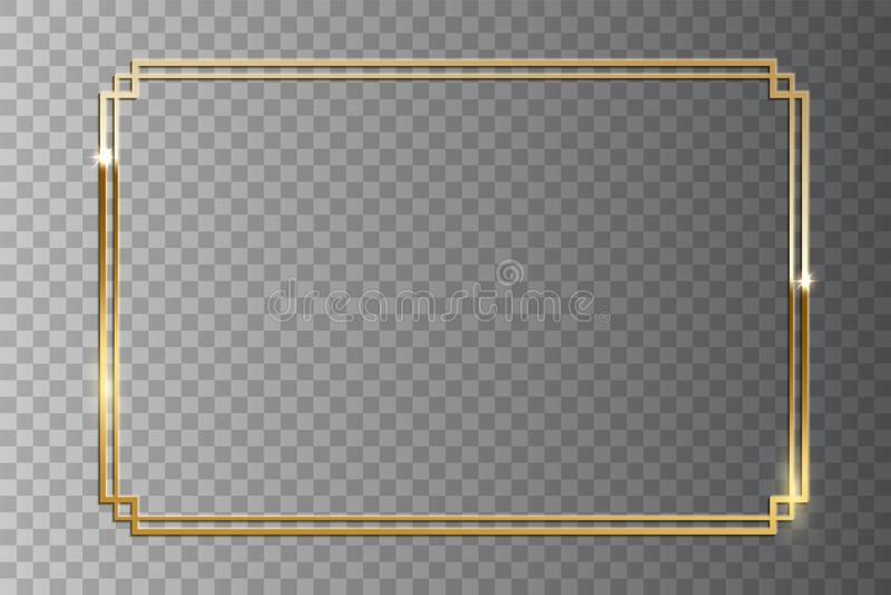 Golden shiny retro frame isolated on transparent background. Vector vintage design element. vector illustration