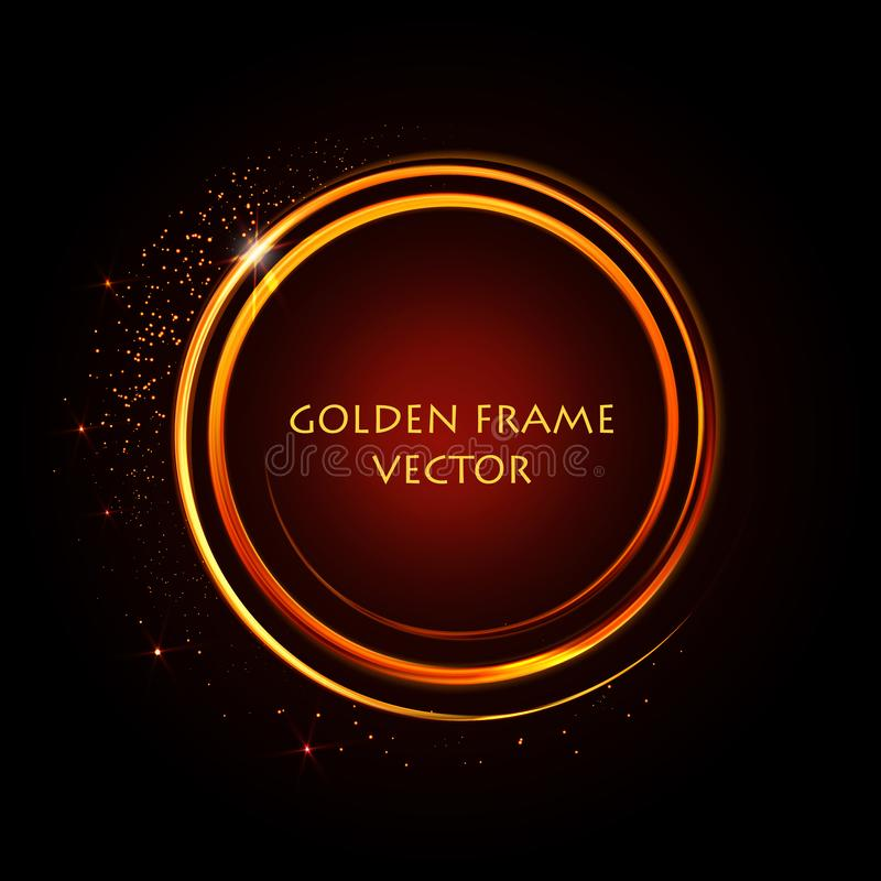Free Golden Shiny Rings. Abstract Vector Banner. Light Effects, Glare And Reflections. Glowing Stellar Dust. Template For Text Stock Photography - 146169232