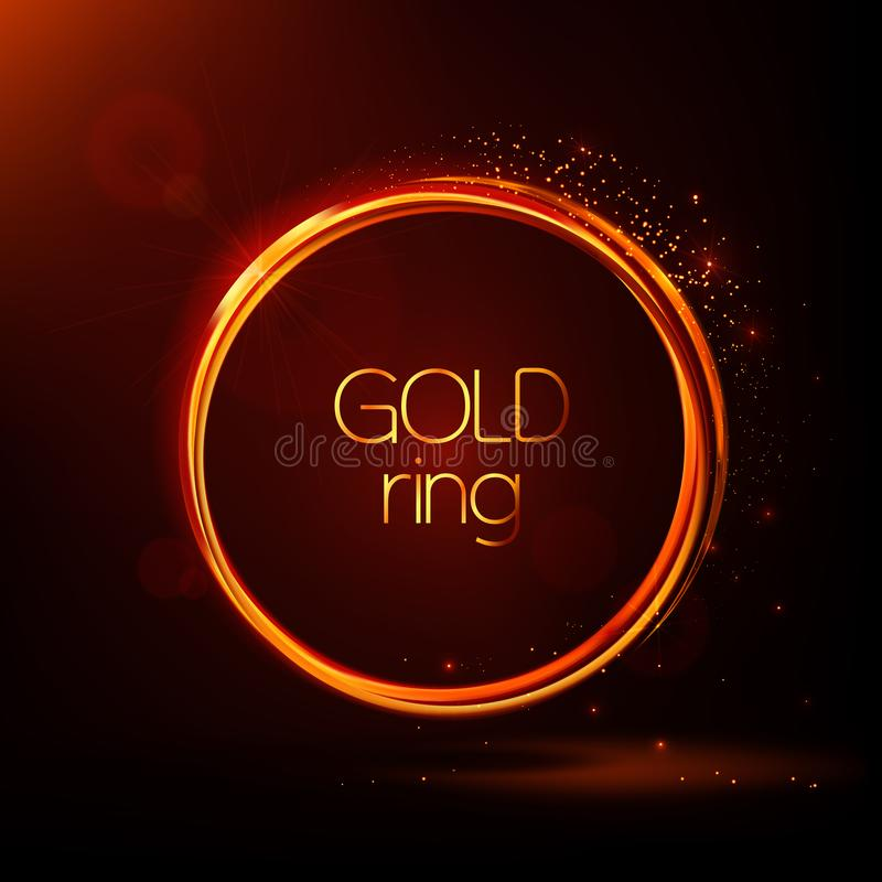 Golden shiny rings. Abstract vector banner. Light effects,  particles, glare and reflections. Glowing stellar dust. vector illustration
