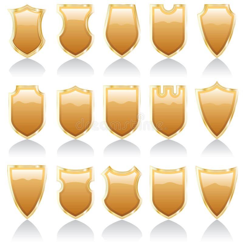 Download Golden shiny shields stock vector. Illustration of ornamental - 15421921