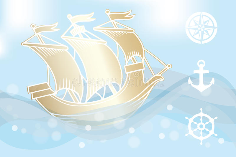 The golden ship. Illustration of a golden ship sailing in ocean (with waves and foam) - eps 10 vectors royalty free illustration