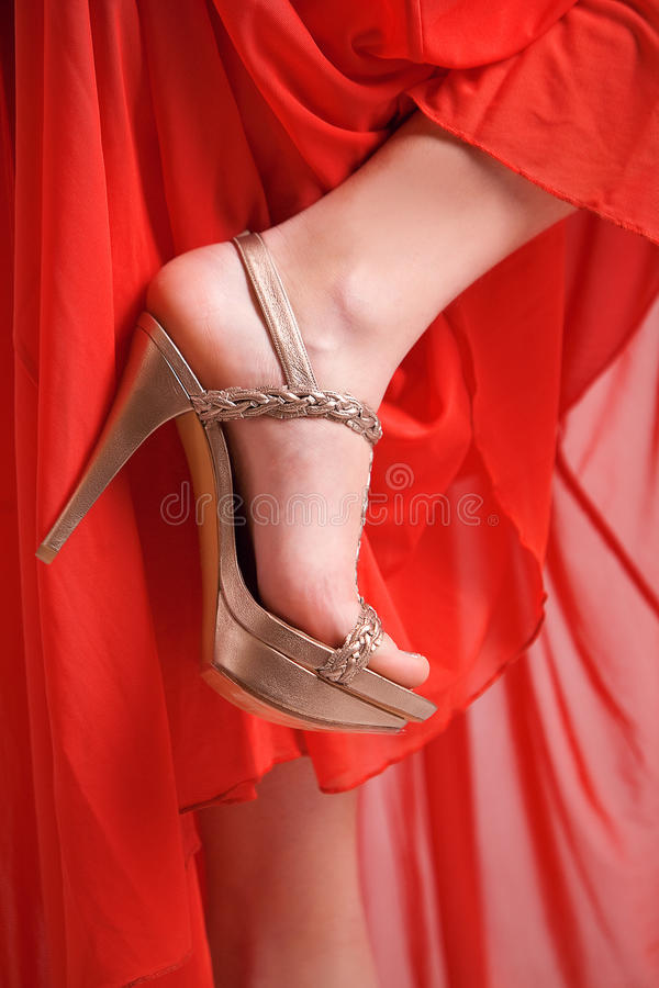 Download Golden shoe, red dress stock photo. Image of clothing - 24519352
