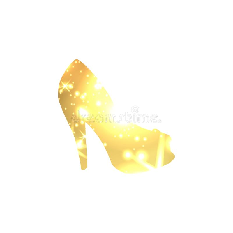 Golden Shoes Symbol with silhouette and gold shining lights. Creative Trendy Modern Fashion Shop Logo Template. Symbol Illustration on Black Background stock illustration