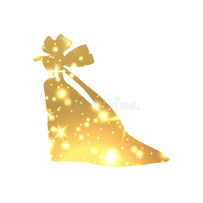Golden Shoes Symbol with silhouette and gold shining lights. Creative Trendy Modern Fashion Shop Logo Template. Symbol Illustration on Black Background royalty free illustration