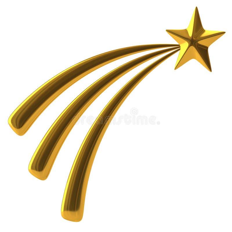 Golden shooting star. 3d illustration of golden shooting star vector illustration