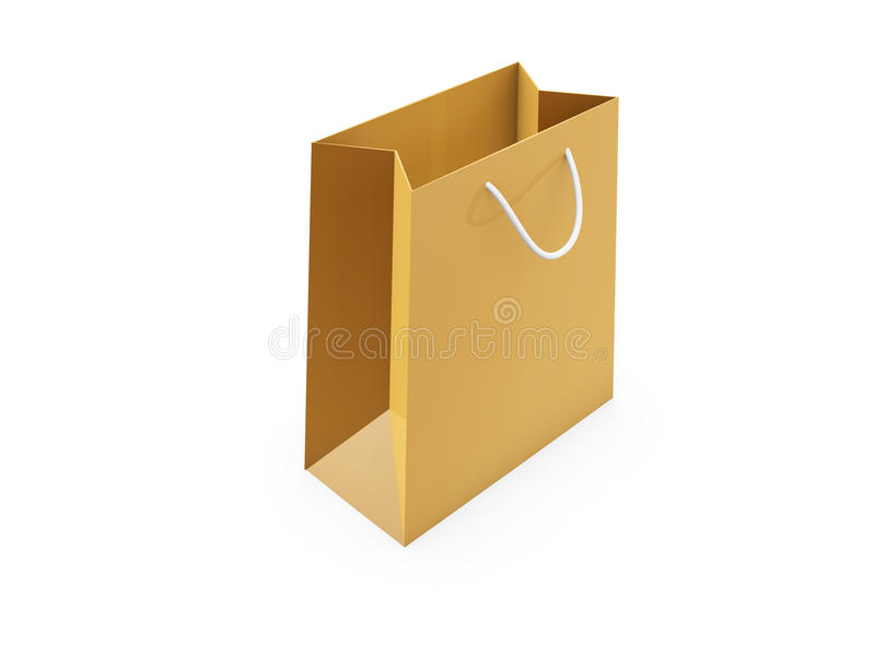 Download Golden shopping bag stock photo. Image of object, paper - 23567432