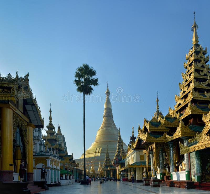 Golden Shwedagon Pagoda complex in the early morning.Yangon, Myanmar royalty free stock images