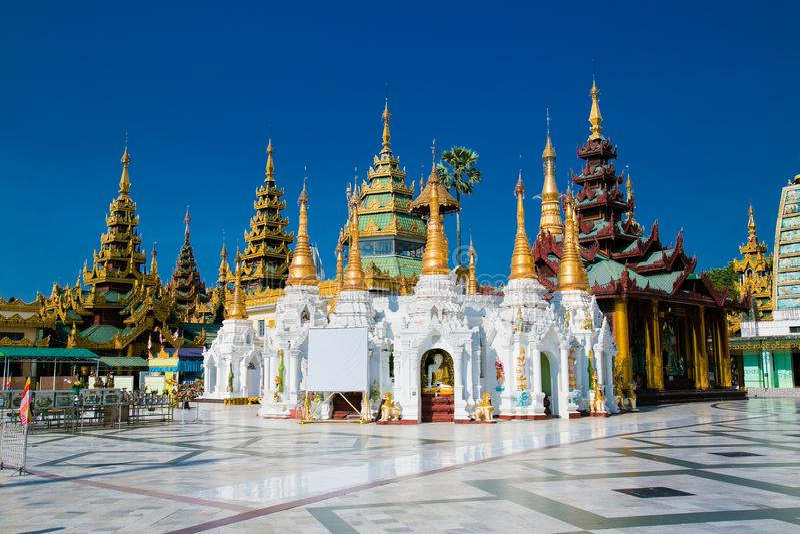 Golden Shwedagon temple the main buddhist stupa in Yangon, Myanmar stock image