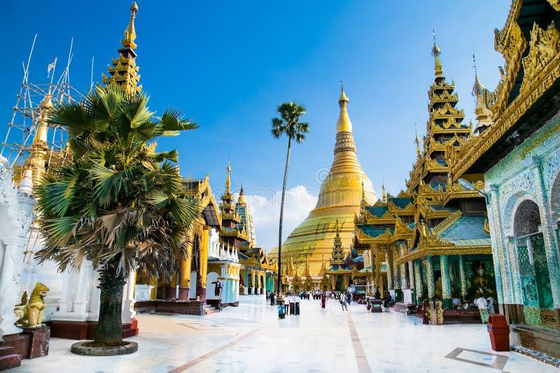 Golden Shwedagon temple the main buddhist stupa in Yangon, Myanmar royalty free stock images