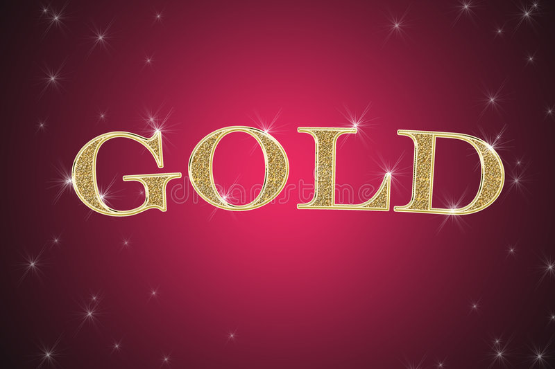 Golden sign, written word gold stock image