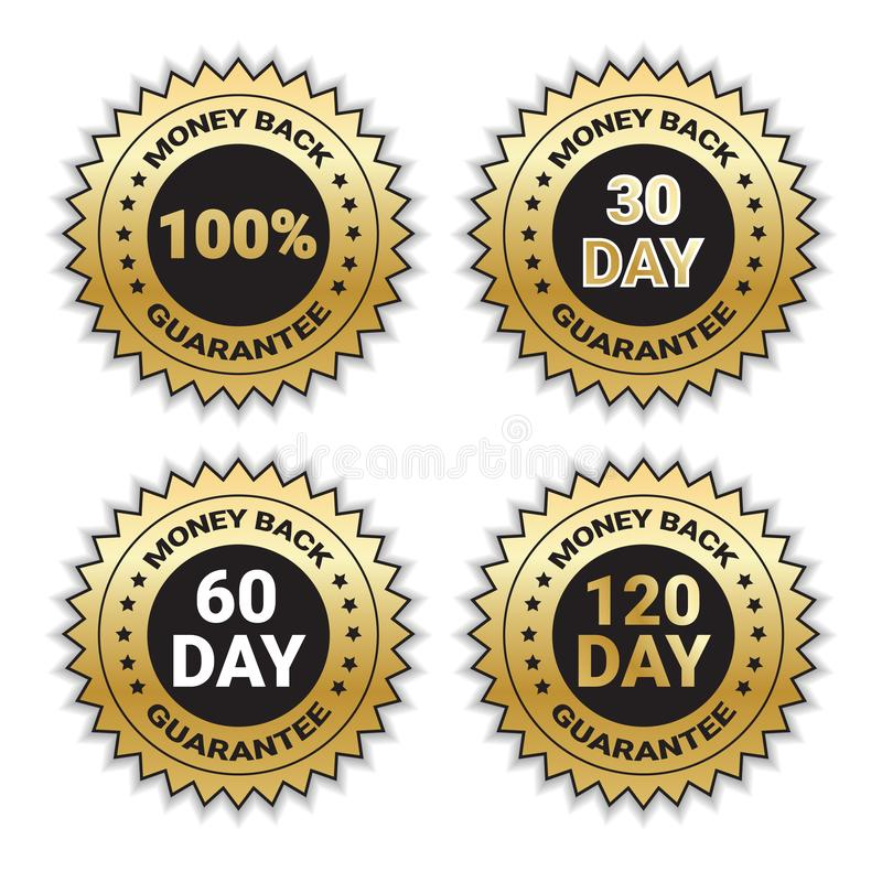 Golden Signs Set Money Back Guarantee Template Stickers Collection Isolated vector illustration