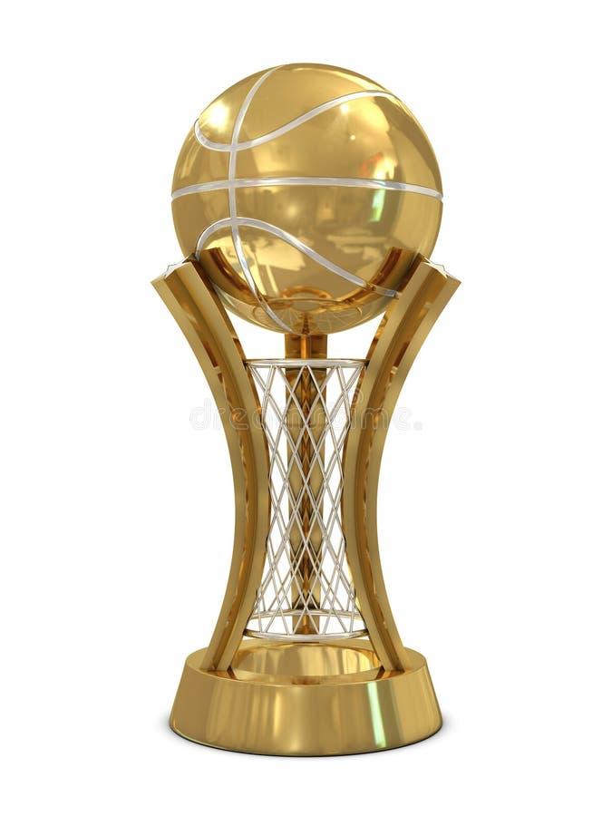 Golden - silberne Basketballpreistrophäe mit Kugel stock abbildung