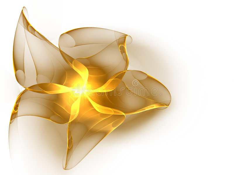 Golden silk ribbon. With shining center on white stock illustration