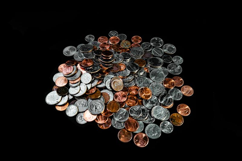 Golden and silver american dollar coins background. Coin background. Pennies/Quarters/ Cents stock image