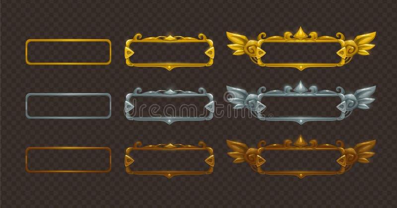 Golden, silver and bronze frames set. stock illustration