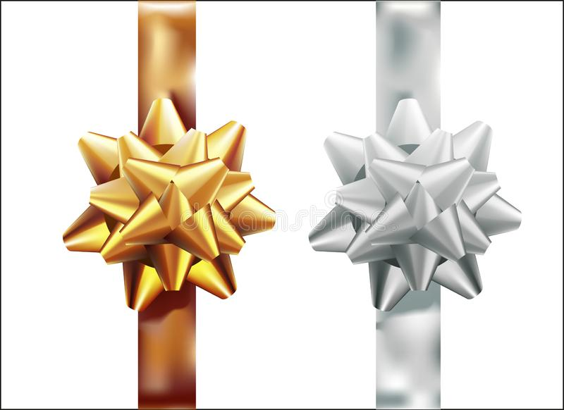 Golden, silver gift bow set vertical ribbon. Isolated on white background. Vector illustration. Christmas, New Year, birthday gold royalty free illustration