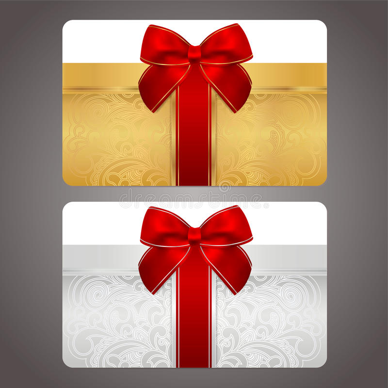Golden and silver gift card with red bow (ribbons) royalty free stock image