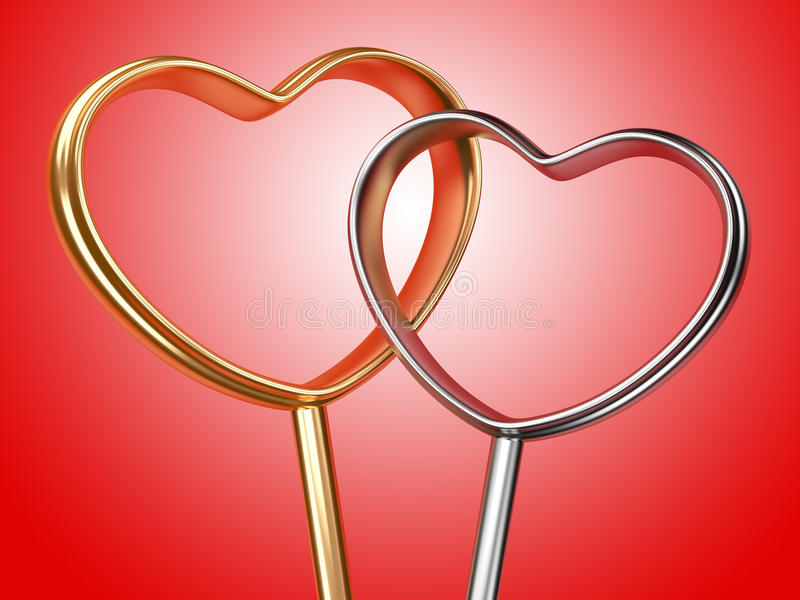 Golden and silver hearts shape. On red background vector illustration