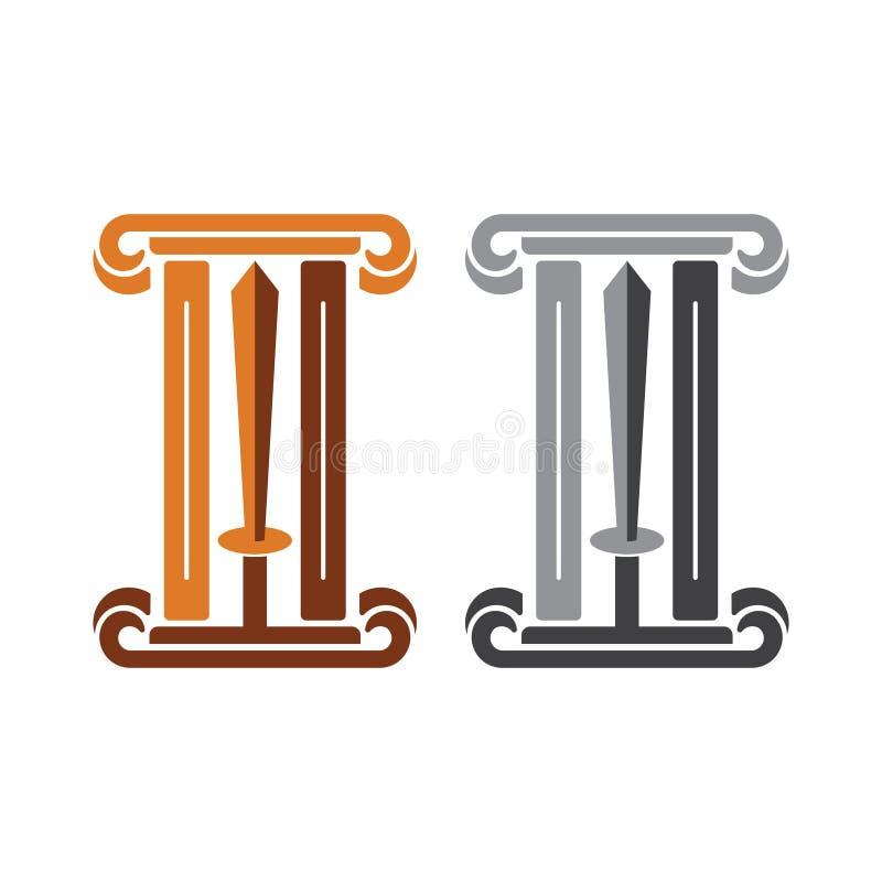 Golden and Silver Pillar Sword Knight Symbol Logo.  vector illustration