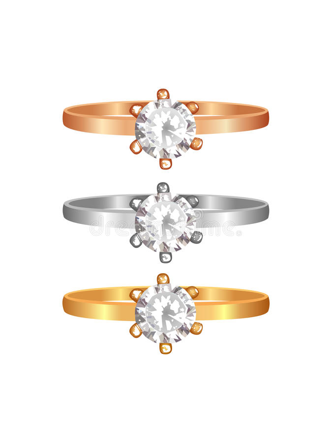 Golden, silver and rose golden ring with diamonds stock images
