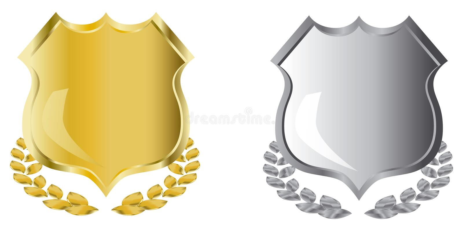 Golden and silver shields stock illustration
