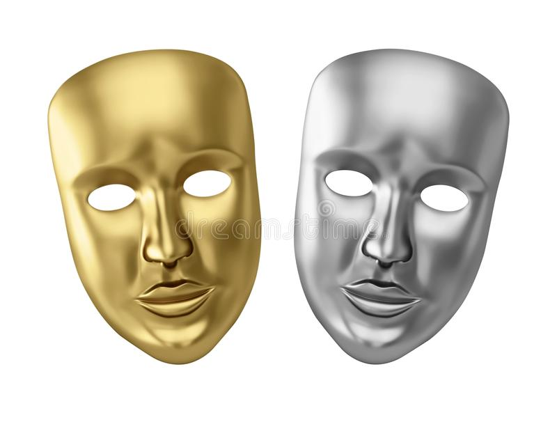 Golden and silver theatrical masks. Isolated on white. 3D rendering vector illustration