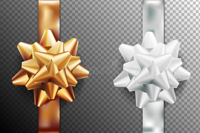 Golden, silver white gift bow set vertical ribbon. Isolated on transparent background. Vector illustration. Christmas, New Year, stock illustration