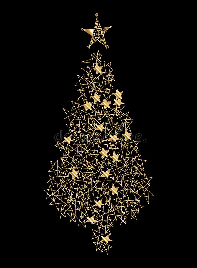 Golden sketched vector Christmas tree isolated on black background royalty free stock images