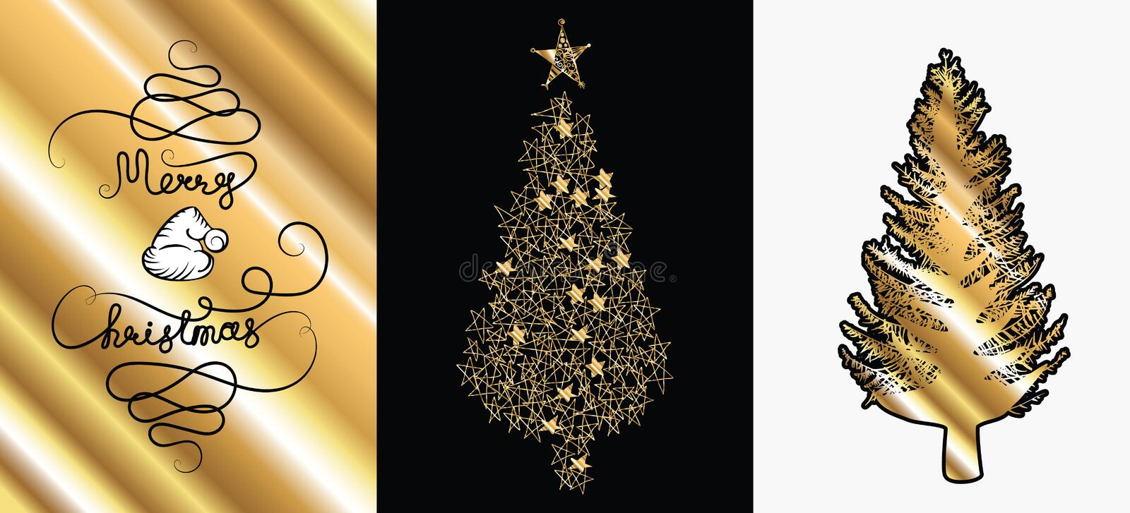 Golden sketched vector Christmas tree isolated on black background stock images