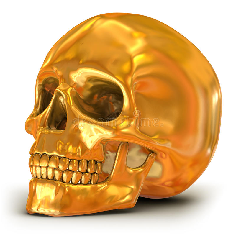 Golden skull stock illustration