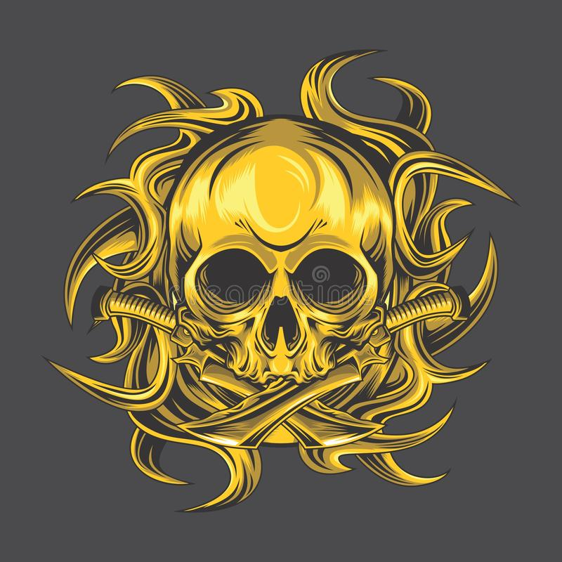 Golden skull dagger stock illustration
