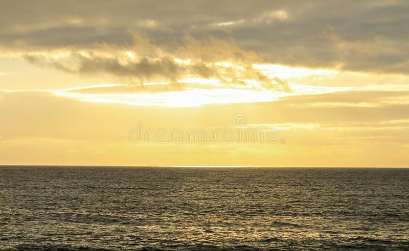 Golden sky sea horizon royalty free stock images
