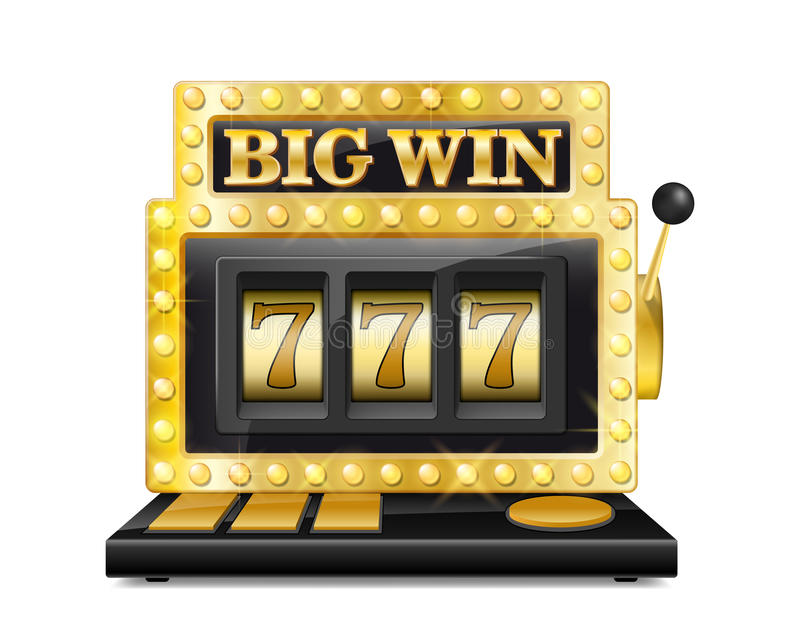 Golden slot machine wins the jackpot. lucky seven in gambling game Isolated on white background. Casino big win slot vector illustration