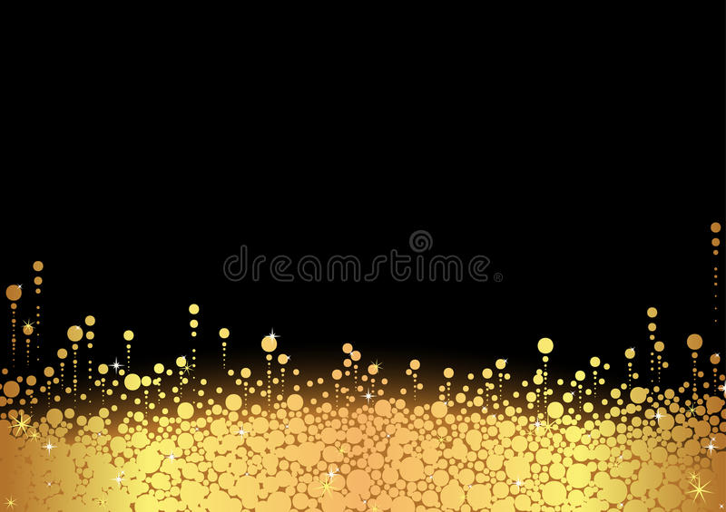 Golden Snow. Over Black Background - Abstract Illustration, Vector royalty free illustration