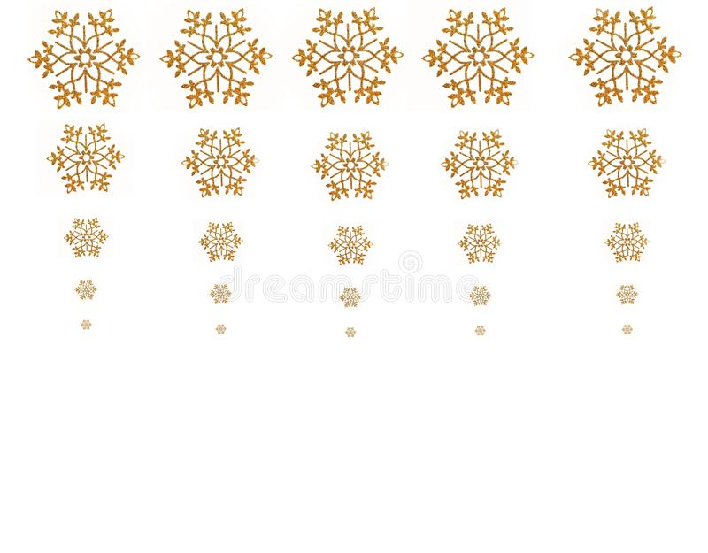 Golden snowflakes stock image