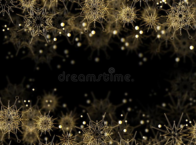 Golden snowflakes on a black background. Beautiful christmas card with place for advertising text stock illustration