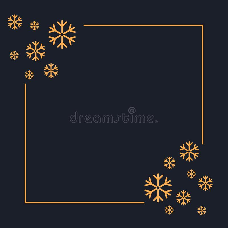 Golden snowflakes blank luxury banner vector illustration