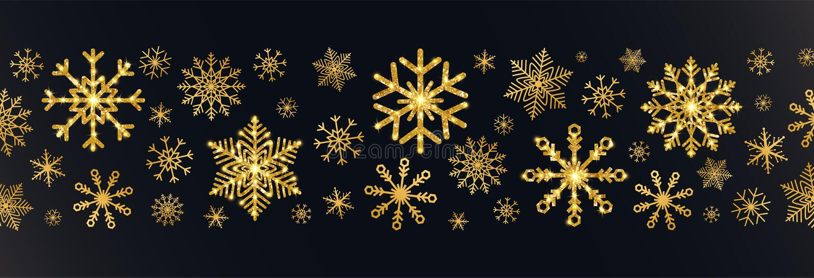 Golden snowflakes border on black background. Merry Christmas and Happy New Year greeting card with glitter gold stock photography
