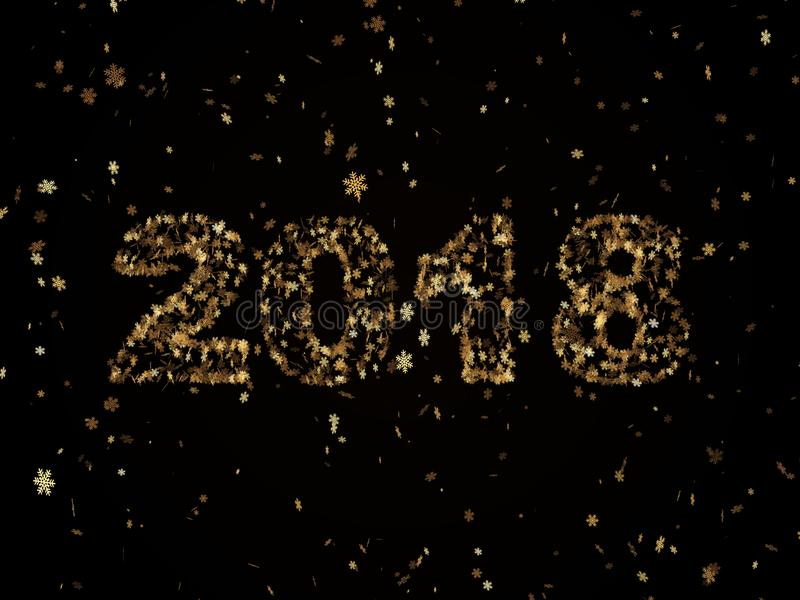 Golden snowflakes falling on a black background form the number. 2018 symbolizing the new year stock images