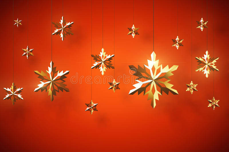Golden snowflakes on red background. Decorative golden snowflakes hanging on threads. Red background. 3D Rendering. Christmas holidays concept royalty free illustration