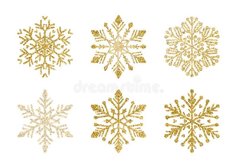 A Golden snowflakes set. Elegant Christmas snow stock illustration