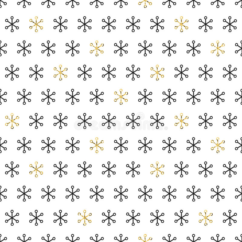 Golden snowflakes on white background. Merry Christmas holiday and Happy New Year celebration. Season abstract seamless royalty free illustration