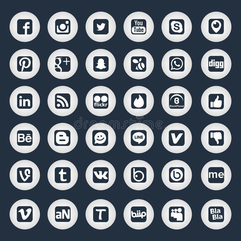 Social Network Icons. Golden Social Network Icons with Black Background beboo behance biip blabla button buttons circle cool dark design digg facebook flickr vector illustration