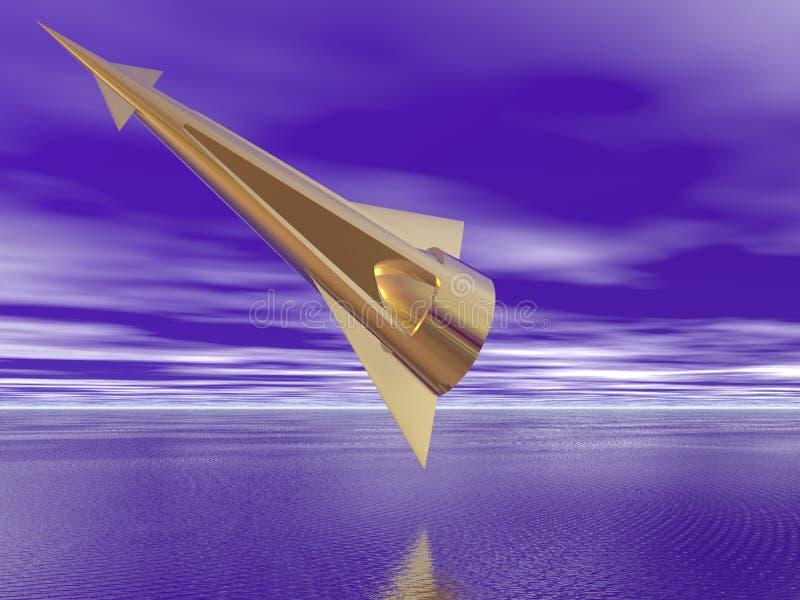 Golden Spaceship vector illustration