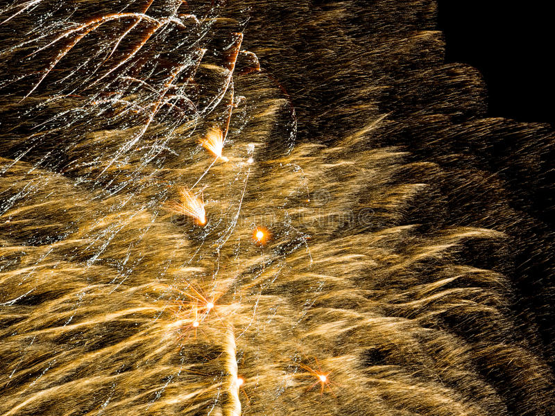 Golden sparkle. Spectacular fireworks royalty free stock images