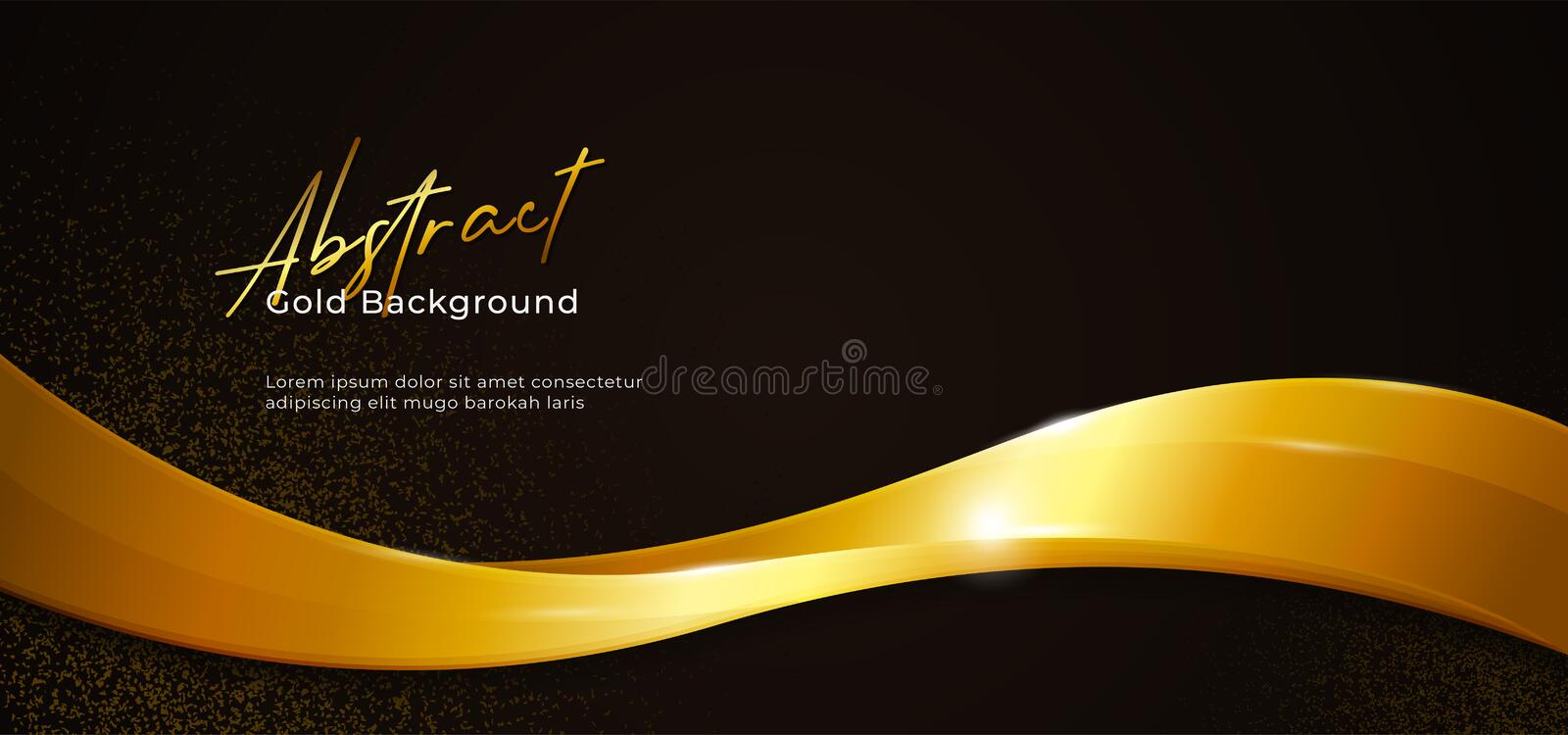 Golden sparkling abstract fluid wave vector illustration with gold glitter on dark black paper background. poster banner template royalty free illustration
