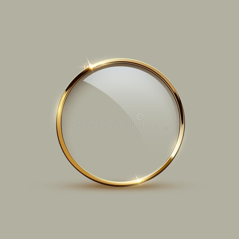 Golden sparkling ring with glass isolated on gray background. Vector golden frame. royalty free illustration