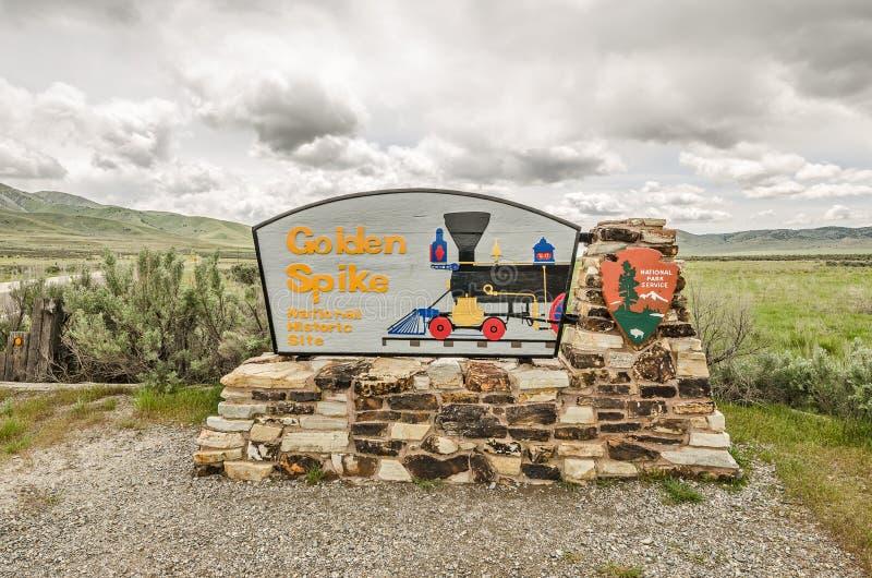 Golden Spike Sign stock photo