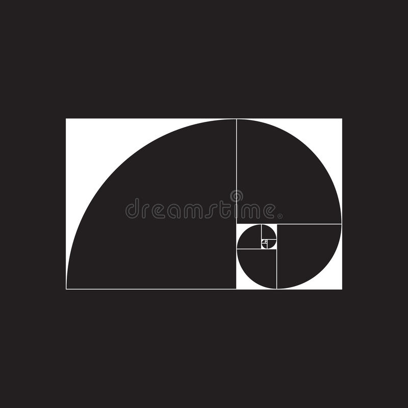 Golden spiral. Golden ratio. Vector illustration EPS 10 vector illustration